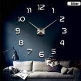 Reloj Real Pared 120cm Tipo Plata Espejo 3d Estilo Arabigo