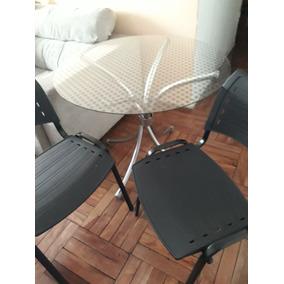 Mesa Redonda De Vidro 90 Cm Com 2 Cadeiras (cor Preta)