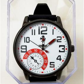 Relógio Masculino Ferrari Preto Com Fundo Branco E Vermelho