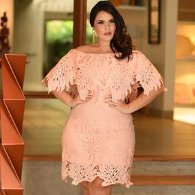 Vestido Plus Size Rosa Feminino De Renda Ombro A Ombro