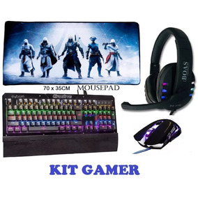 f9a02be7311c5 Kit Gamer Compreto Teclado Mecanico + Mouse + Fone +mousepad