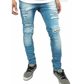 Calça Jeans C Lycra Masculina Kit 03 Peças Slin Rasgado