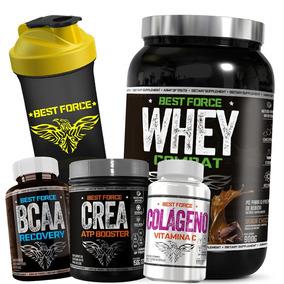 Whey Protein 1kg + Bcaa + Colágeno + Creatina - Best Force