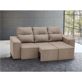 Sofa 3 Lugares Bege Modelo Casas Bahia Sofa Retratil No Mercado