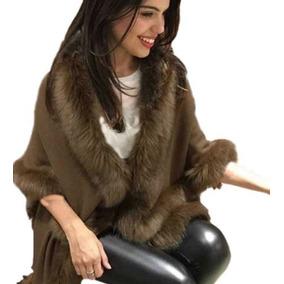 Poncho De Lã Pelerine Com Pelinhos Sinteticos Feminina Moda