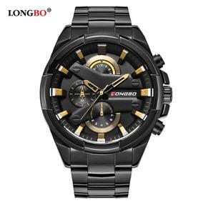 Relógio Longbo Masculino Preto Grande Aço Inoxidável Promo