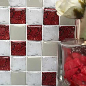 Pastilha Resinada Adesiva Vermelho Luxo 224clb Kit 4 Placas