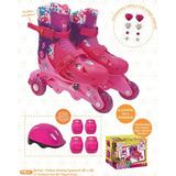 Patins Infantil Barbie 3 Rodas Com Kit De Segurança 29 A 32