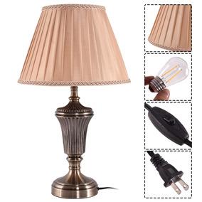 13 Lámpara De Mesita De Noche De Bronce Antiguo Con...