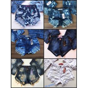 Kit Com 10 Shorts Jeans Hot Pant Cintura Alta No Atacado