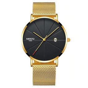 Relógio Nibosi Unissex Feminino Masculino 2321 Dourado/preto