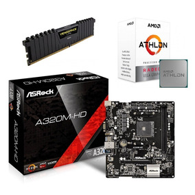Kit Amd Athlon 200ge + Mb Asrock A320m-hd + 4 Gb Corsair