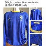Camisa Seleção Brasileira Manga Longa Azul no Mercado Livre Brasil 8f2c30feb3753