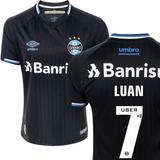 Camisa Grêmio Preta 7 Luan Third Oficial Umbro Original 2019 a42243dbf8a91