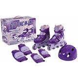 Patins Roller Roxo Ajustável 34 A 37 + Kit Proteção Fênix