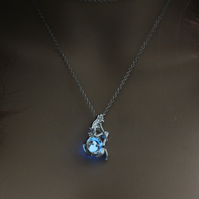 Collar Sirena Brillante Brilla Oscuridad Luminoso Moda Luz