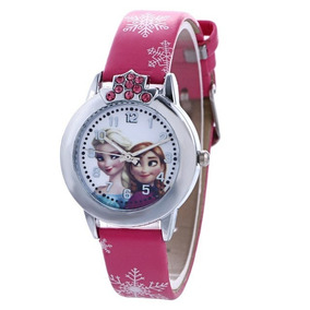 Relógio Frozen Infantil Elsa E Anna Pulseira Pink - Promoção
