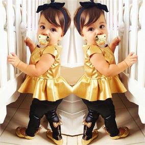 Roupa Infantil - Blusa Dourada + Legging Preta (3 Anos)