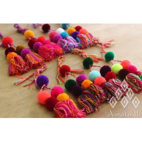 Lote 12 Pompones Grandes Artesanales Mexicanos Multicolor