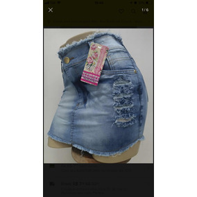 Roupa Feminina Mini Saia Jeans Com Lycra