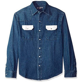 Calvin Klein Jeans Hombres Camisa Vaquera Azul Con Contraste
