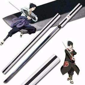 Espada Sasuke Naruto Cosplay Aço Negro Bainha Madeira
