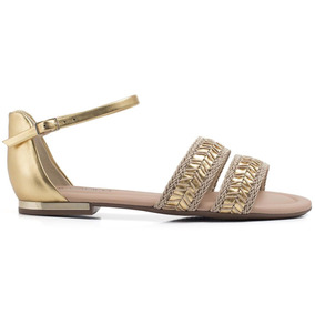 Sandália Piccadilly Dourada 510051 Solado Em Gel