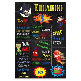 Kit Imprimible Pizarra Superhéroes Textos Editables +regalos