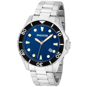 Relógio Magnum Sports Ma35011f Masculino Prata E Fundo Azul