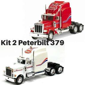 Kit 2 Caminhão Coleção Importado Trucado Peterbilt 379 Welly