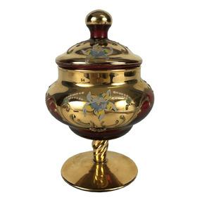 Pequena Compoteira Antiga Cristal Veneziano Rubi Ouro
