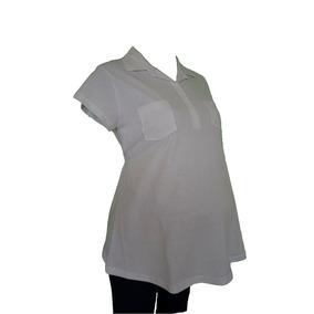 Blusa De Maternidad Tipo Polo Blanca, Uniforme