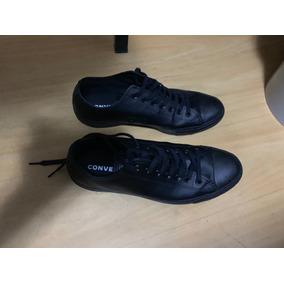 Tênis Converse All Star Monochrome Leather Ox Couro Preto