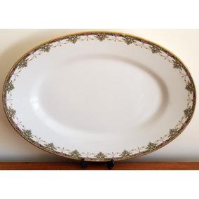 Fuente O Bandeja Oval En Porcelana De Limoges Del Año 1900+