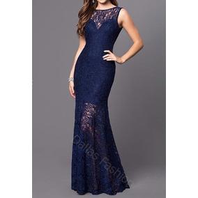 Vestido sereia renda azul