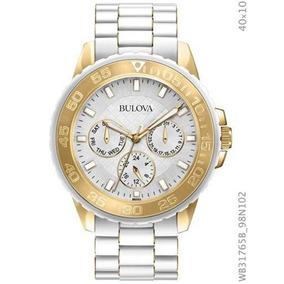 Relógio Bulova Feminino Branco E Dourado Wb31765b