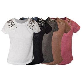4 Blusinhas T-shirts Feminina Com Pedraria Atacado