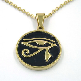 Collar Acero Inoxidable Dorado Ojo De Ra Egipcio