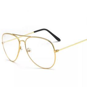 Armacao Para Grau Rosa Claro - Óculos Dourado no Mercado Livre Brasil cbde3be0da