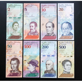 Venezuela Full Set Bolívar Soberano 8 Cédulas 2/500 Bolív.