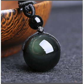 Collar De Obsidiana Estilo Esferico.