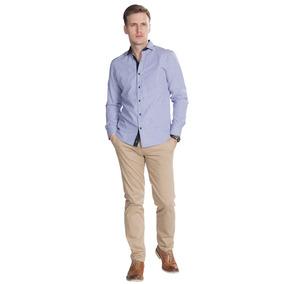 Camisas Hombre Azul Rayas Slim Fit Casuales Moda B85305