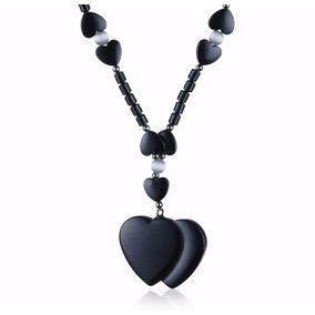 Collares Para Mujer De Hierro Piedra De Ópalo Doble Corazón
