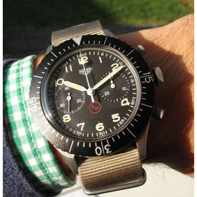 Relógio Tributo Heuer Militar Flyback 1960s Military 3h