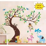 Vinil Decorativo Infantil Animales Árbol Búho Mono Habitacio