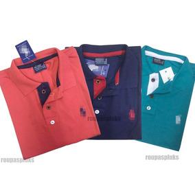 Kit 04 Camisa Masculina Polo Plus Size Especial Xg Xgg Xxg