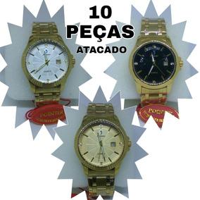 Kit 10 Peças Relógio Aço Inox Banhado A Ouro Pointer