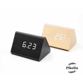 Reloj Despertador Madera Led Digital Alarma Activa Voz 1300