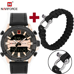Relógio Dual Time Militar Led Naviforce Nf9114 + Paracord