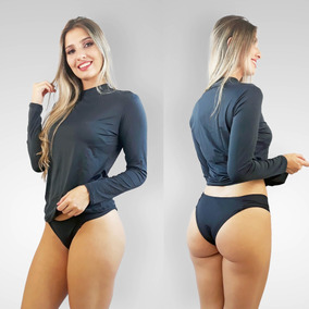 Biquini Camiseta Com Proteção Solar Uv 50+ Feminina Preta B3 9725bcd0f83